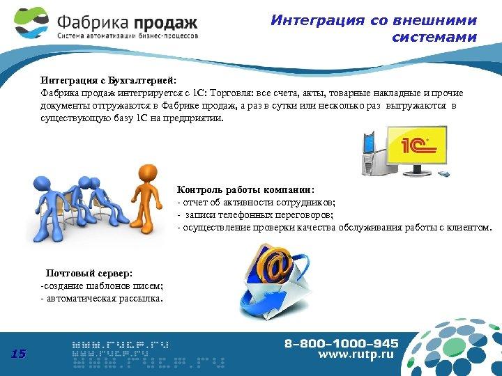 Интеграция со внешними системами Интеграция с Бухгалтерией: Фабрика продаж интегрируется с 1 С: Торговля: