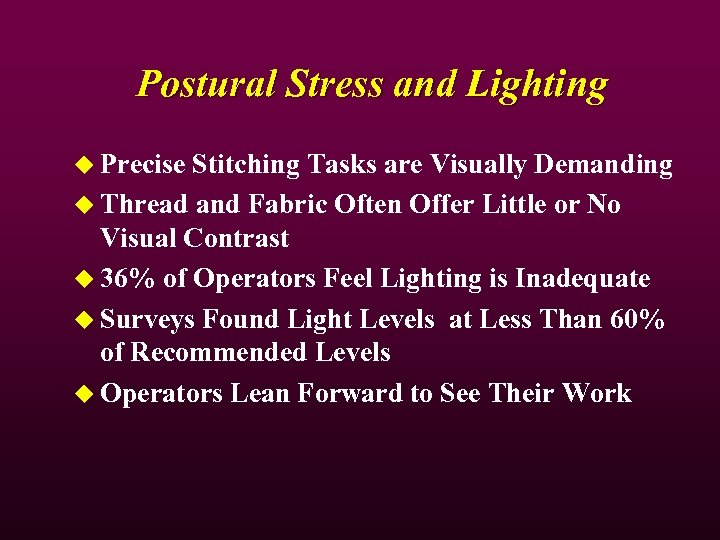 Postural Stress and Lighting u Precise Stitching Tasks are Visually Demanding u Thread and