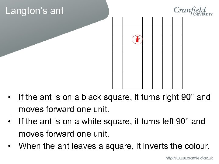 • If the ant is on a black square, it turns right 90°