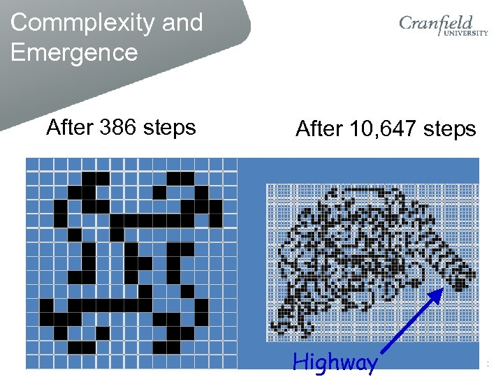 Commplexity and Emergence After 386 steps After 10, 647 steps Highway