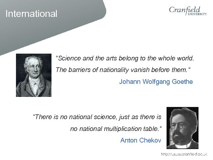 "International ""Science and the arts belong to the whole world. The barriers of nationality"