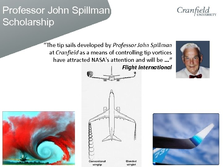 "Professor John Spillman Scholarship ""The tip sails developed by Professor John Spillman at Cranfield"