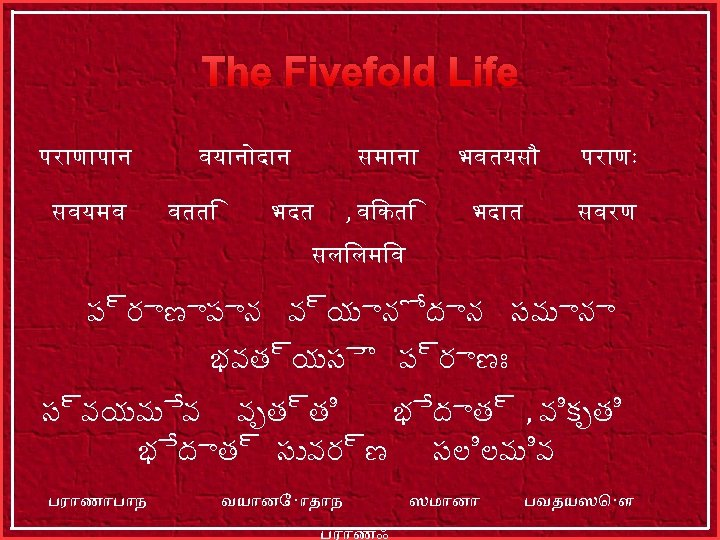 The Fivefold Life पर ण प न सवयमव वय न द न वतत सम