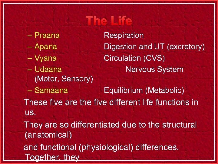 The Life – Praana – Apana – Vyana – Udaana (Motor, Sensory) – Samaana