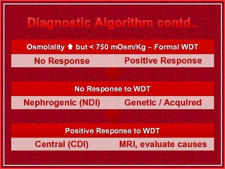 Diagnostic Algorithm contd. . Osmolality but < 750 m. Osm/Kg – Formal WDT No