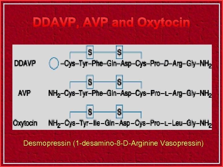 DDAVP, AVP and Oxytocin Desmopressin (1 -desamino-8 -D-Arginine Vasopressin)