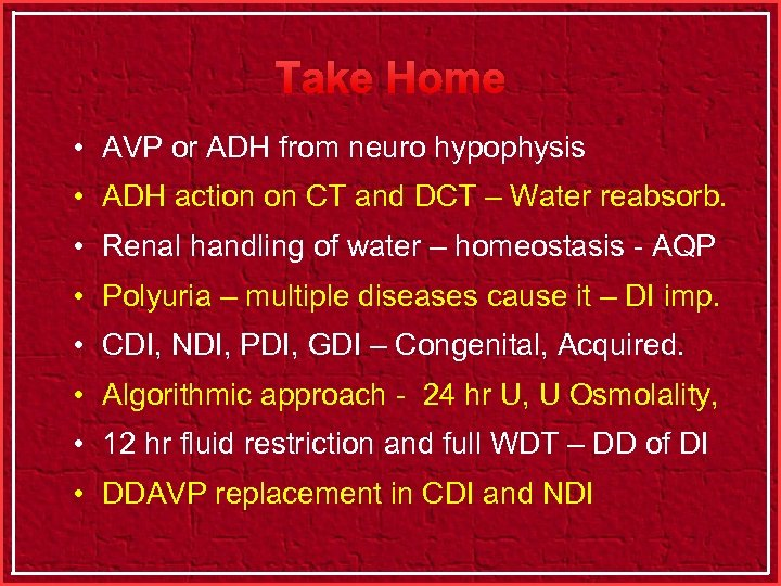 Take Home • AVP or ADH from neuro hypophysis • ADH action on CT