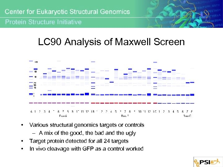 LC 90 Analysis of Maxwell Screen • • • Various structural genomics targets or