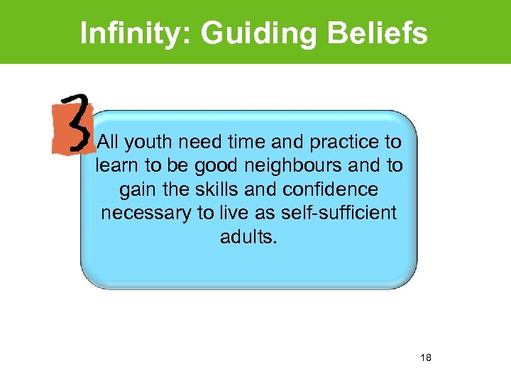 Infinity: Guiding Beliefs All youth need time and practice to learn to be good