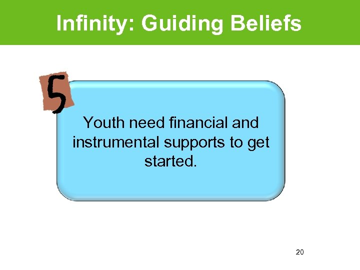 Infinity: Guiding Beliefs Youth need financial and instrumental supports to get started. 20