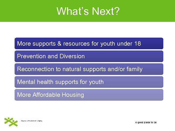 What's Next? More supports & resources for youth under 18 Prevention and Diversion Reconnection