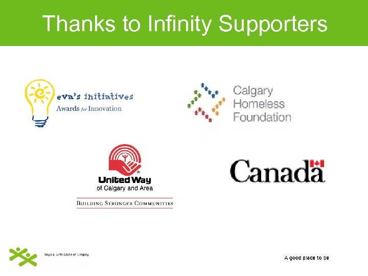 Thanks to Infinity Supporters