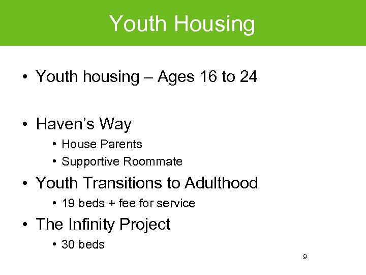 Youth Housing • Youth housing – Ages 16 to 24 • Haven's Way •