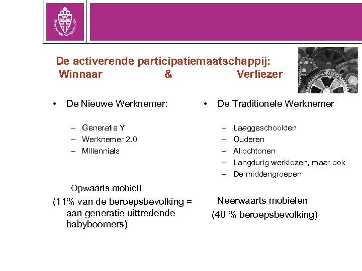 De activerende participatiemaatschappij: Winnaar & Verliezer • De Nieuwe Werknemer: – Generatie Y –