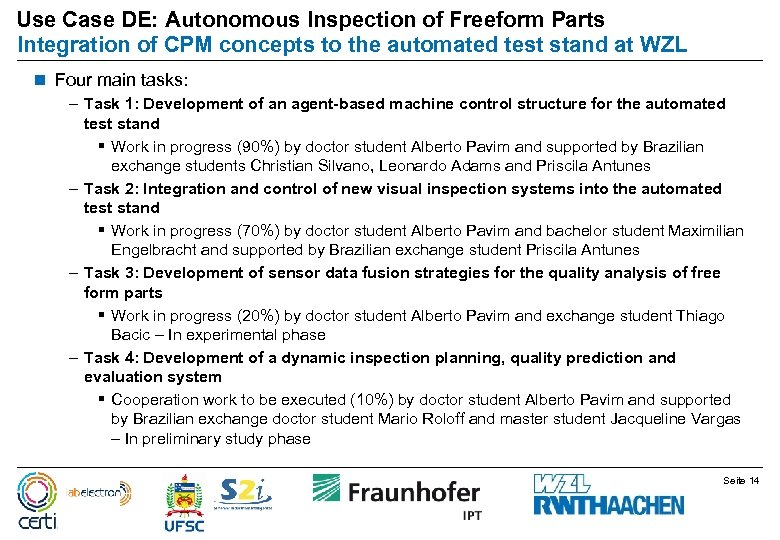 Use Case DE: Autonomous Inspection of Freeform Parts Integration of CPM concepts to the