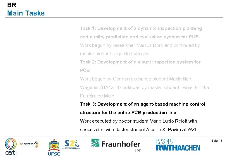 BR Main Tasks Task 1: Development of a dynamic inspection planning and quality prediction