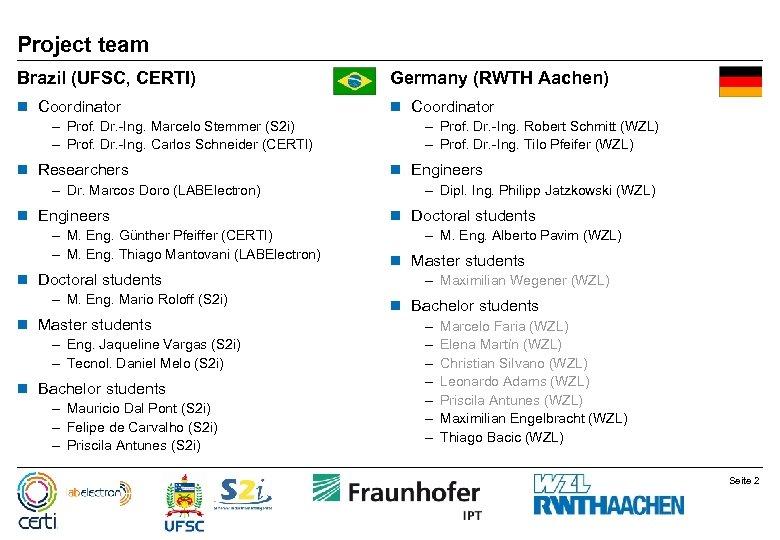 Project team Brazil (UFSC, CERTI) Germany (RWTH Aachen) n Coordinator – Prof. Dr. -Ing.