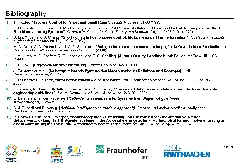 "Bibliography (1) T. Pyzdek, ""Process Control for Short and Small Runs"", Quality Progress, 51"