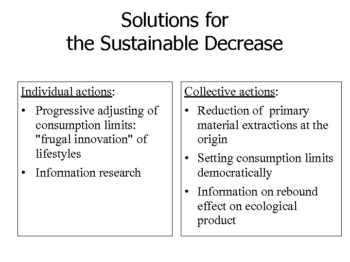 Solutions for the Sustainable Decrease Individual actions: Collective actions: • Progressive adjusting of consumption