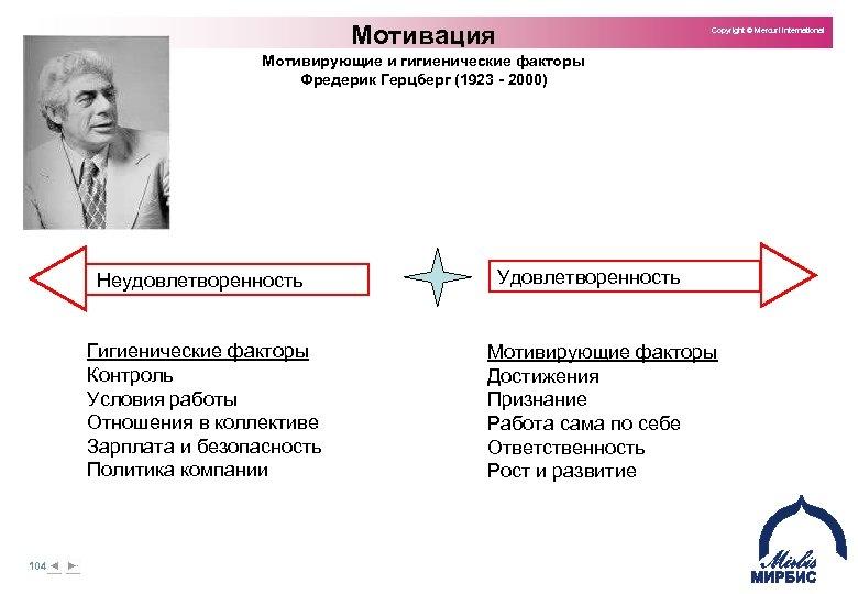 Мотивация Copyright © Mercuri International Мотивирующие и гигиенические факторы Фредерик Герцберг (1923 - 2000)