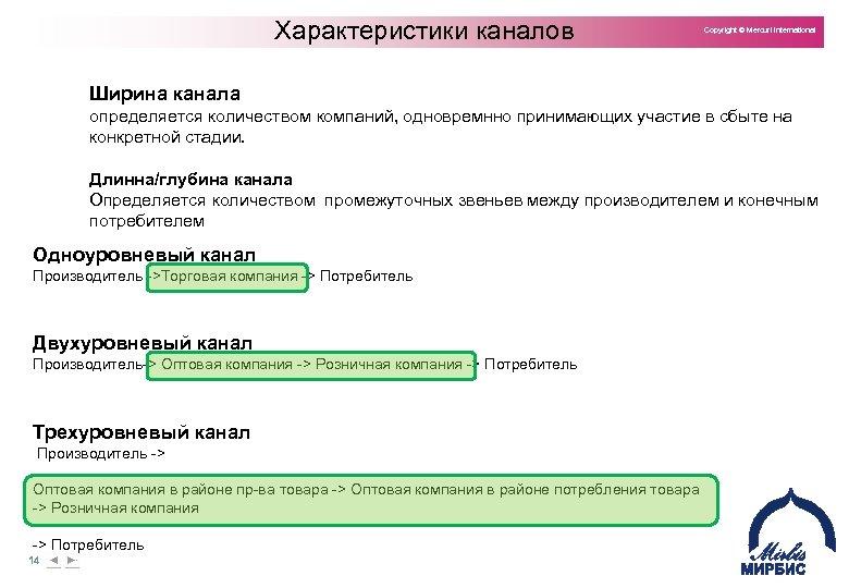 Характеристики каналов Copyright © Mercuri International Ширина канала определяется количеством компаний, одновремнно принимающих участие