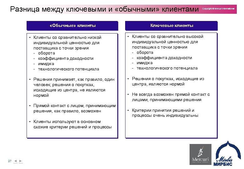 Разница между ключевыми и «обычными» клиентами § «Обычные» клиенты • Клиенты со сравнительно низкой