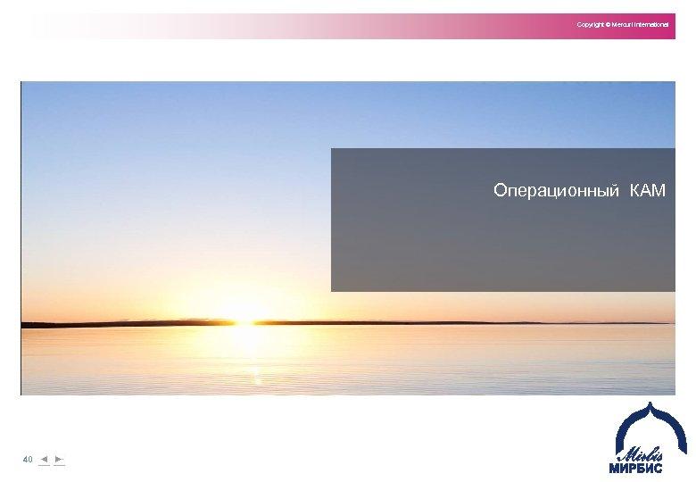Copyright © Mercuri International Операционный КАМ 40