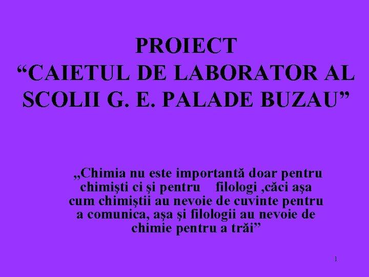"""PROIECT """"CAIETUL DE LABORATOR AL SCOLII G. E. PALADE BUZAU"""" """"Chimia nu este importantă"""