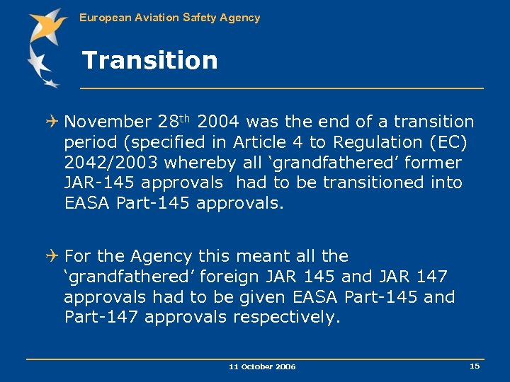 European Aviation Safety Agency Transition Q November 28 th 2004 was the end of