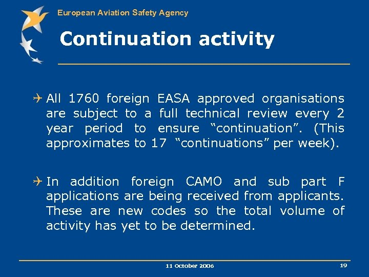 European Aviation Safety Agency Continuation activity Q All 1760 foreign EASA approved organisations are