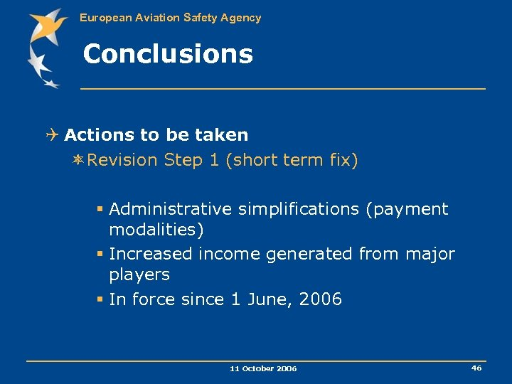 European Aviation Safety Agency Conclusions Q Actions to be taken ôRevision Step 1 (short