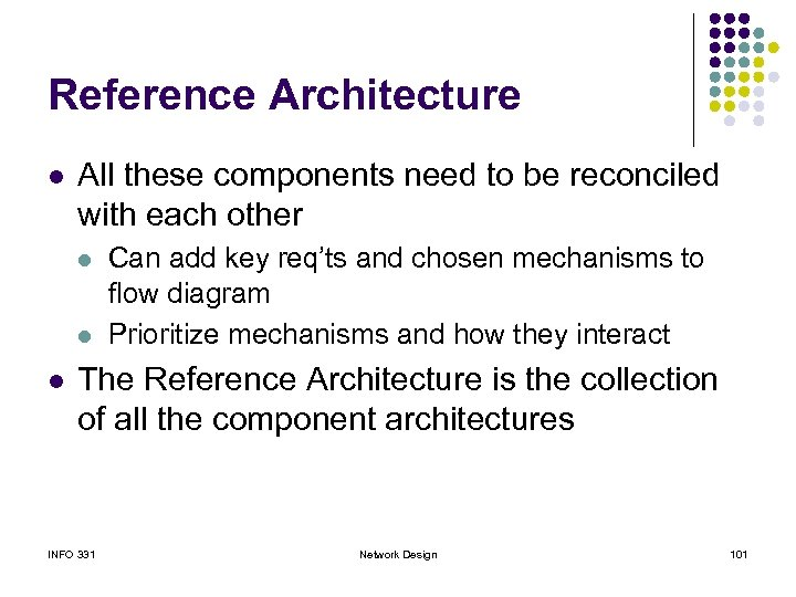 Reference Architecture l All these components need to be reconciled with each other l
