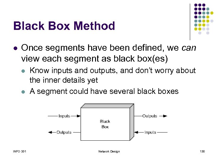 Black Box Method l Once segments have been defined, we can view each segment