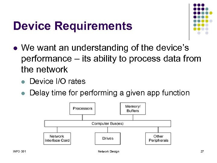 Device Requirements l We want an understanding of the device's performance – its ability