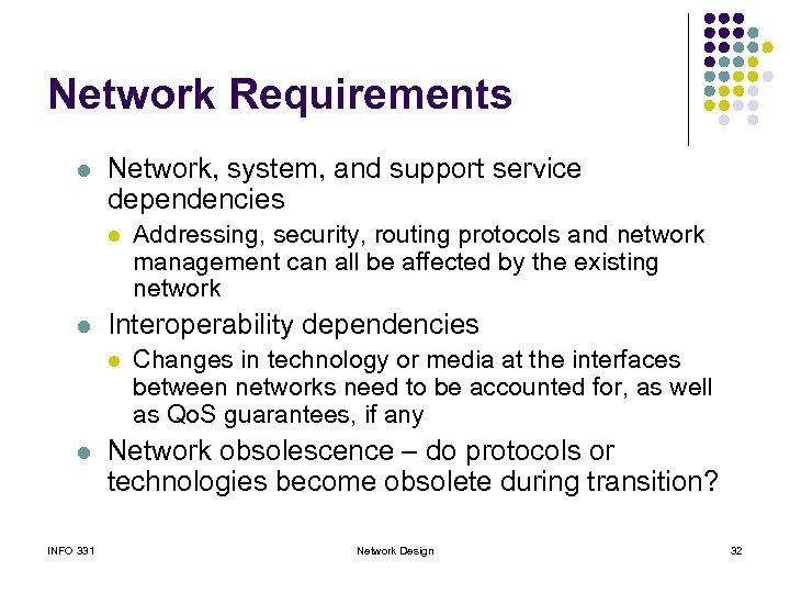 Network Requirements l Network, system, and support service dependencies l l Interoperability dependencies l