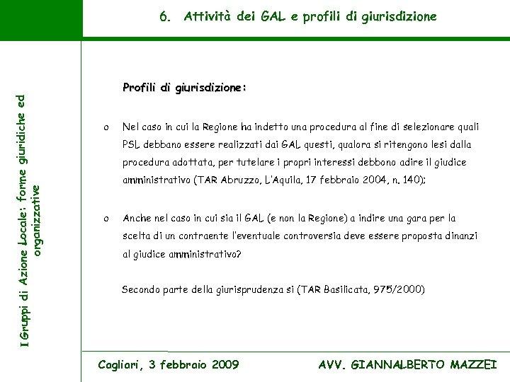 I Gruppi di Azione Locale: forme giuridiche ed organizzative 6. Attività dei GAL e
