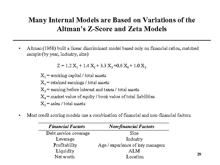 Many Internal Models are Based on Variations of the Altman's Z-Score and Zeta Models