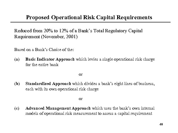 Proposed Operational Risk Capital Requirements Reduced from 20% to 12% of a Bank's Total