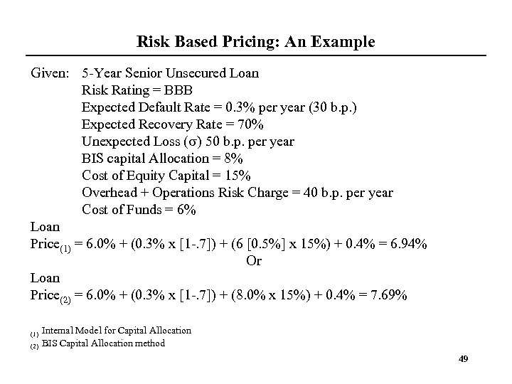 Risk Based Pricing: An Example Given: 5 -Year Senior Unsecured Loan Risk Rating =
