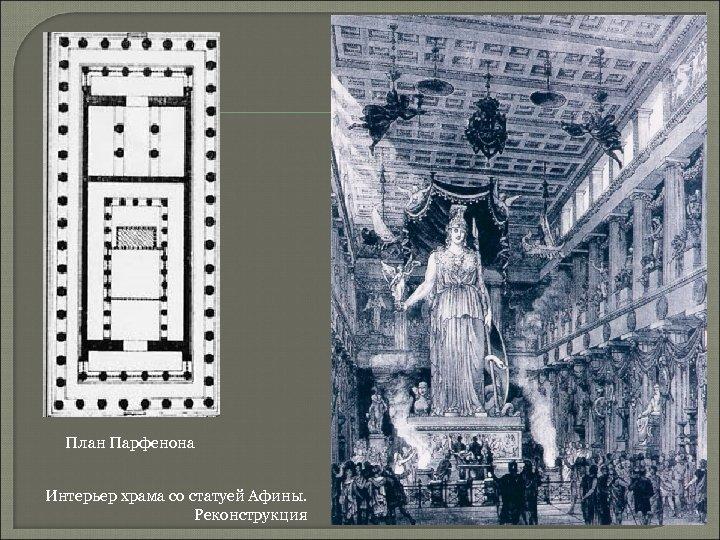 План Парфенона Интерьер храма со статуей Афины. Реконструкция
