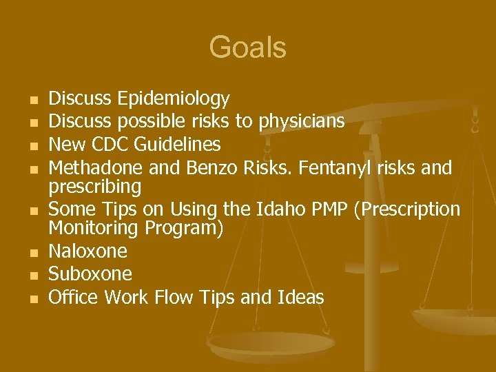 Goals n n n n Discuss Epidemiology Discuss possible risks to physicians New CDC