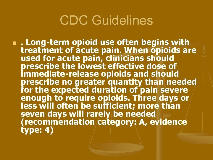CDC Guidelines n . Long-term opioid use often begins with treatment of acute pain.