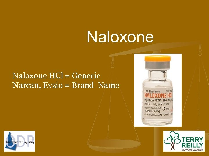 Naloxone HCl = Generic Narcan, Evzio = Brand Name