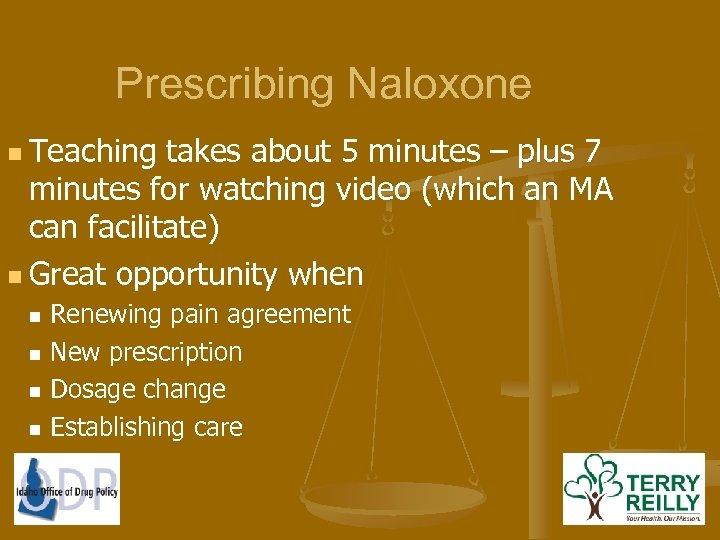 Prescribing Naloxone n Teaching takes about 5 minutes – plus 7 minutes for watching