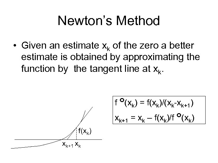 Newton's Method • Given an estimate xk of the zero a better estimate is