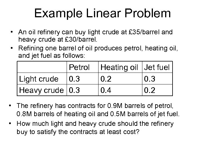 Example Linear Problem • An oil refinery can buy light crude at £ 35/barrel