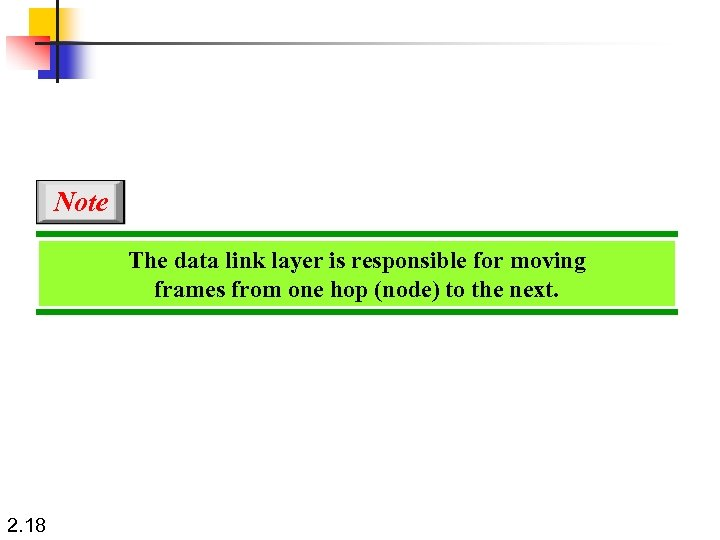 Note The data link layer is responsible for moving frames from one hop (node)