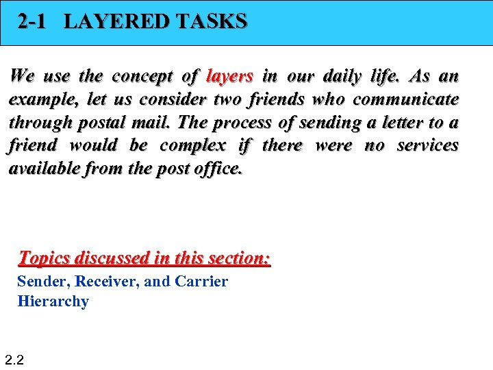 2 -1 LAYERED TASKS We use the concept of layers in our daily life.