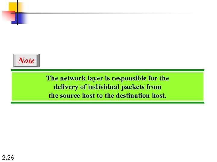 Note The network layer is responsible for the delivery of individual packets from the
