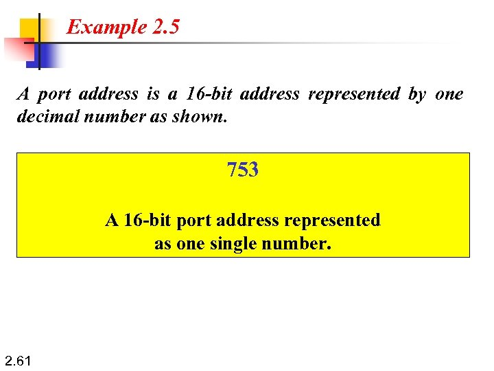 Example 2. 5 A port address is a 16 -bit address represented by one